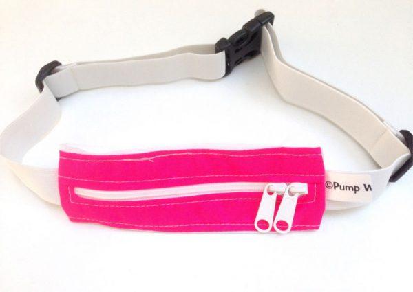 mavebælte i pink med et rum og dobbelt lynlås fra pump wear